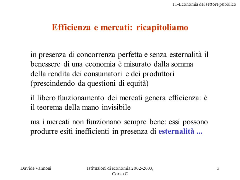 Efficienza e mercati: ricapitoliamo