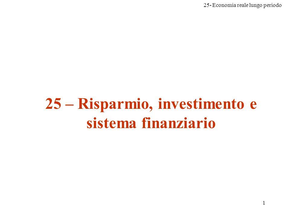25 – Risparmio, investimento e sistema finanziario