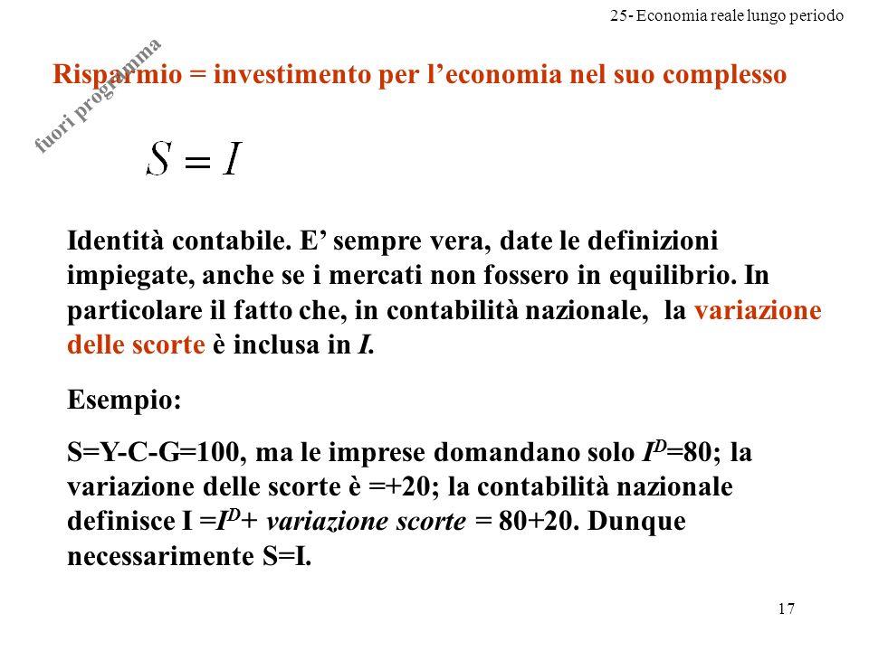 Risparmio = investimento per l'economia nel suo complesso