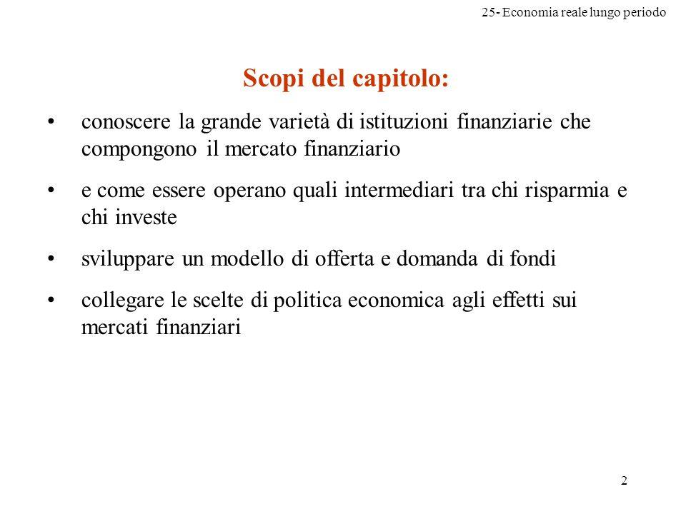 Scopi del capitolo: conoscere la grande varietà di istituzioni finanziarie che compongono il mercato finanziario.