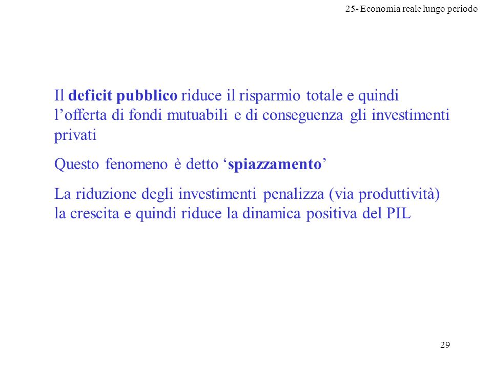 Il deficit pubblico riduce il risparmio totale e quindi l'offerta di fondi mutuabili e di conseguenza gli investimenti privati