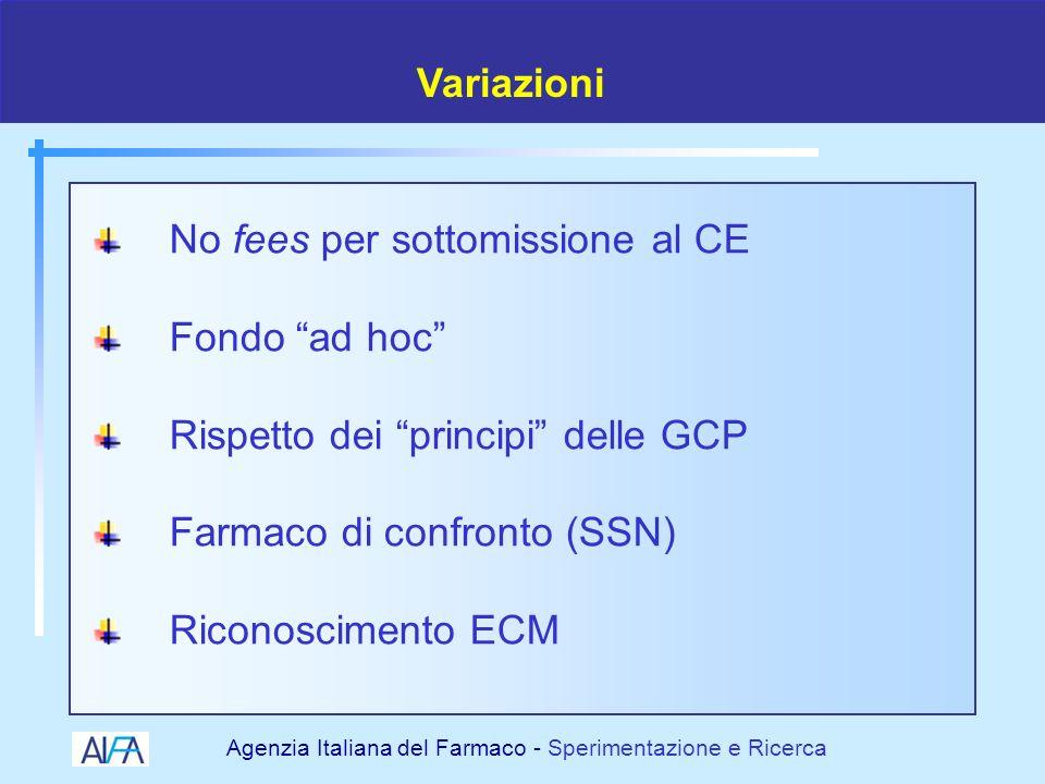 Variazioni No fees per sottomissione al CE. Fondo ad hoc Rispetto dei principi delle GCP. Farmaco di confronto (SSN)