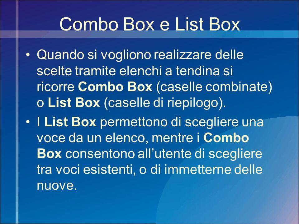 Combo Box e List Box
