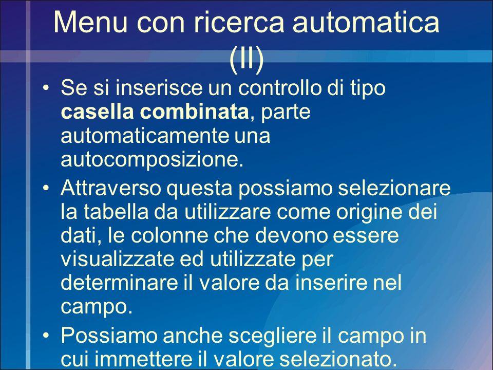 Menu con ricerca automatica (II)