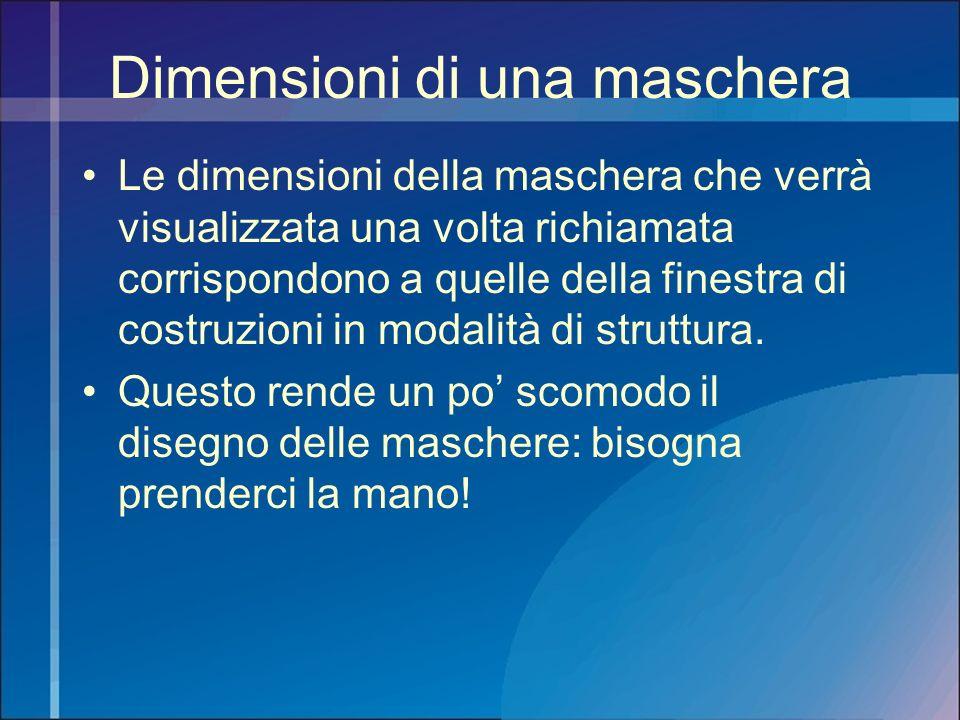 Dimensioni di una maschera