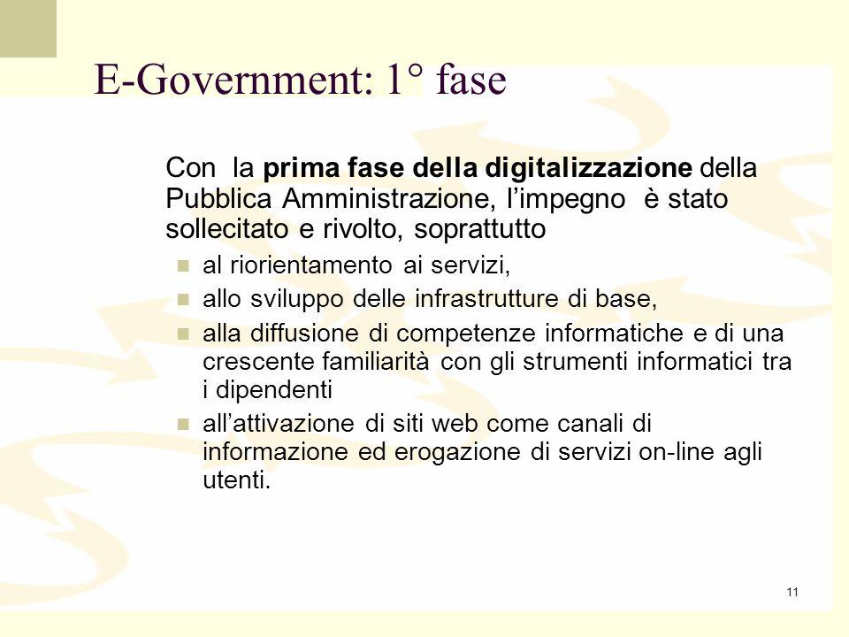 E-Government: 1° fase Con la prima fase della digitalizzazione della Pubblica Amministrazione, l'impegno è stato sollecitato e rivolto, soprattutto.