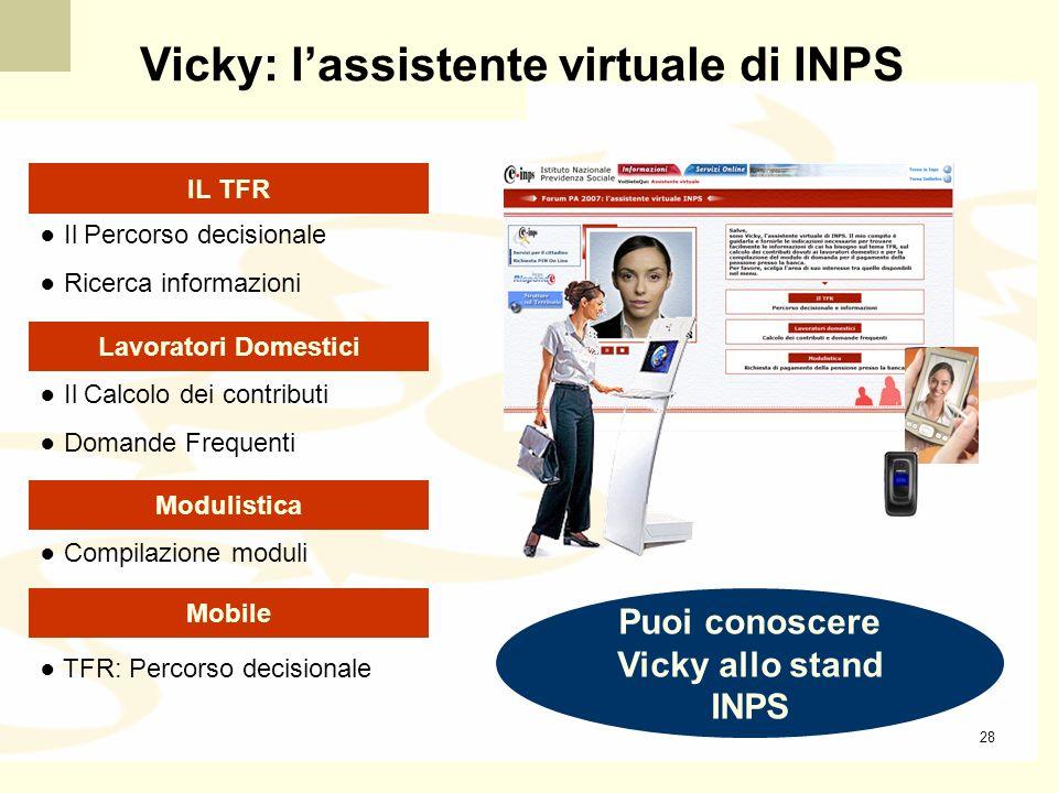 Puoi conoscere Vicky allo stand INPS