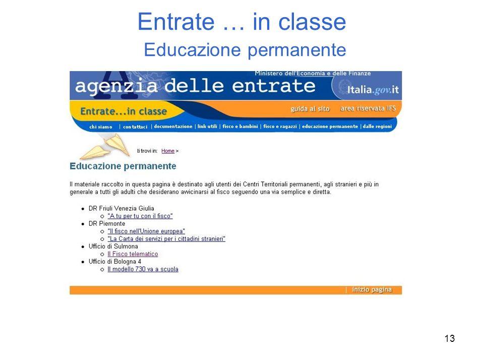 Entrate … in classe Educazione permanente