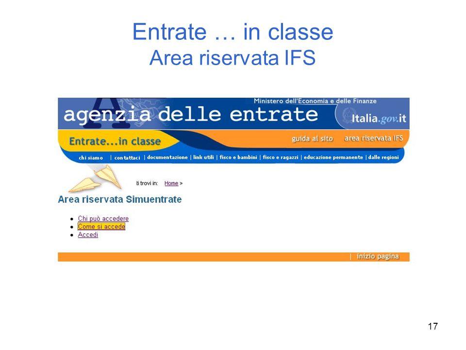 Entrate … in classe Area riservata IFS