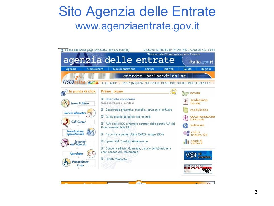 Sito Agenzia delle Entrate www.agenziaentrate.gov.it