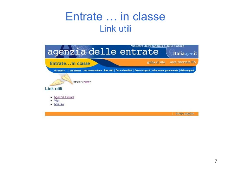 Entrate … in classe Link utili