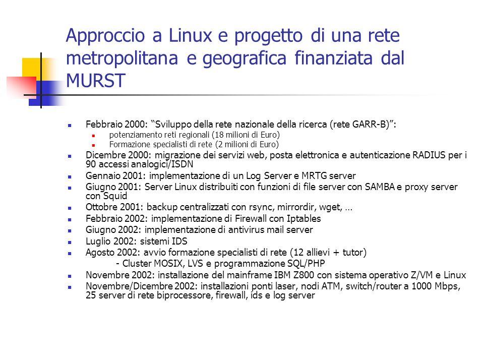 Approccio a Linux e progetto di una rete metropolitana e geografica finanziata dal MURST