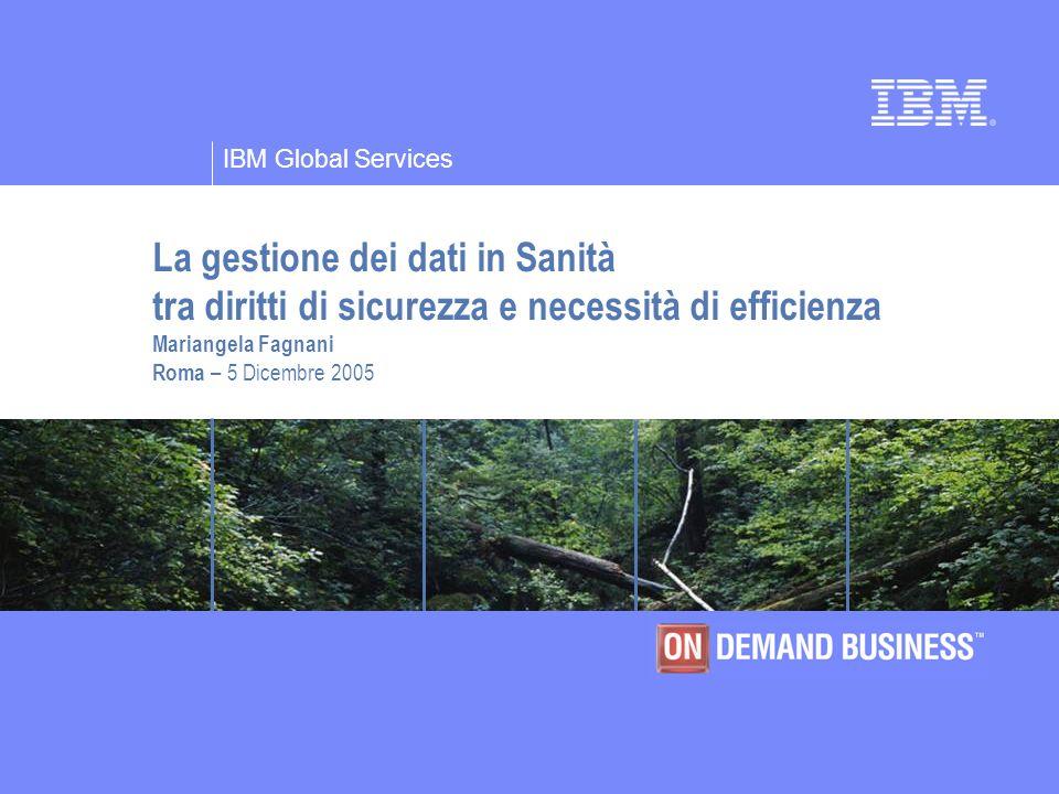 La gestione dei dati in Sanità tra diritti di sicurezza e necessità di efficienza Mariangela Fagnani Roma – 5 Dicembre 2005