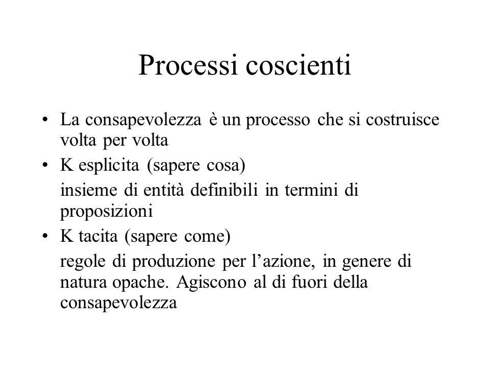 Processi coscienti La consapevolezza è un processo che si costruisce volta per volta. K esplicita (sapere cosa)