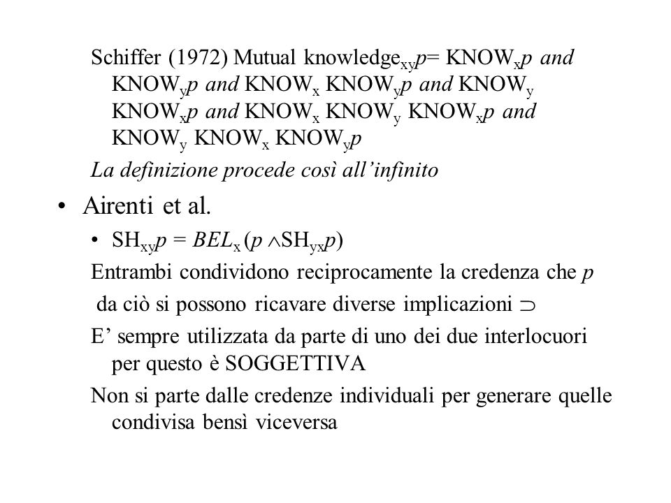 Schiffer (1972) Mutual knowledgexyp= KNOWxp and KNOWyp and KNOWx KNOWyp and KNOWy KNOWxp and KNOWx KNOWy KNOWxp and KNOWy KNOWx KNOWyp