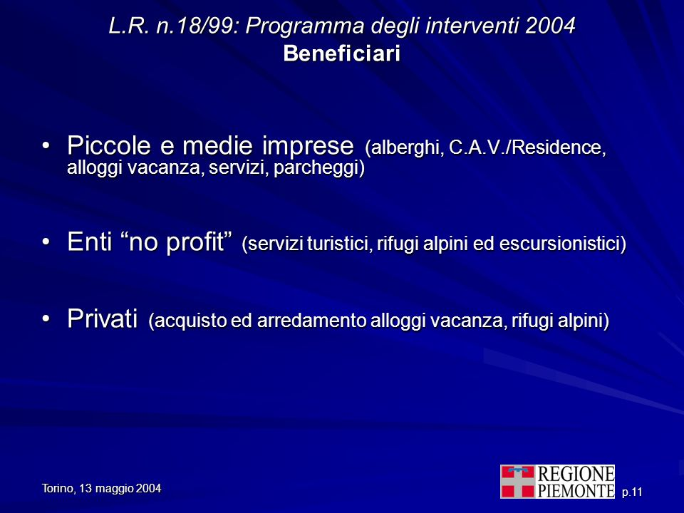 L.R. n.18/99: Programma degli interventi 2004 Beneficiari