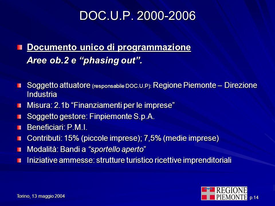 DOC.U.P. 2000-2006 Documento unico di programmazione