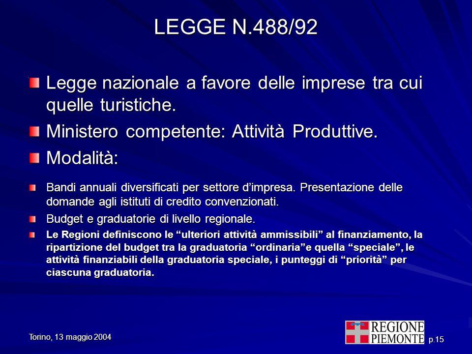 LEGGE N.488/92 Legge nazionale a favore delle imprese tra cui quelle turistiche. Ministero competente: Attività Produttive.