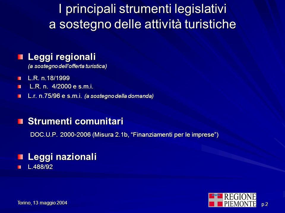 I principali strumenti legislativi a sostegno delle attività turistiche