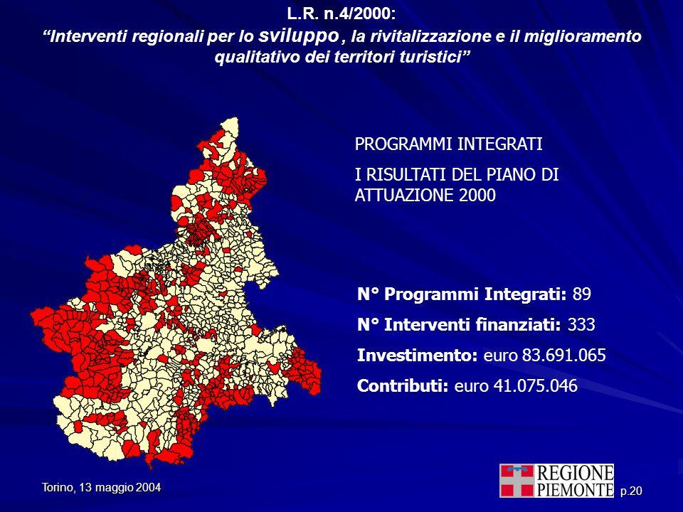 L.R. n.4/2000: Interventi regionali per lo sviluppo , la rivitalizzazione e il miglioramento qualitativo dei territori turistici