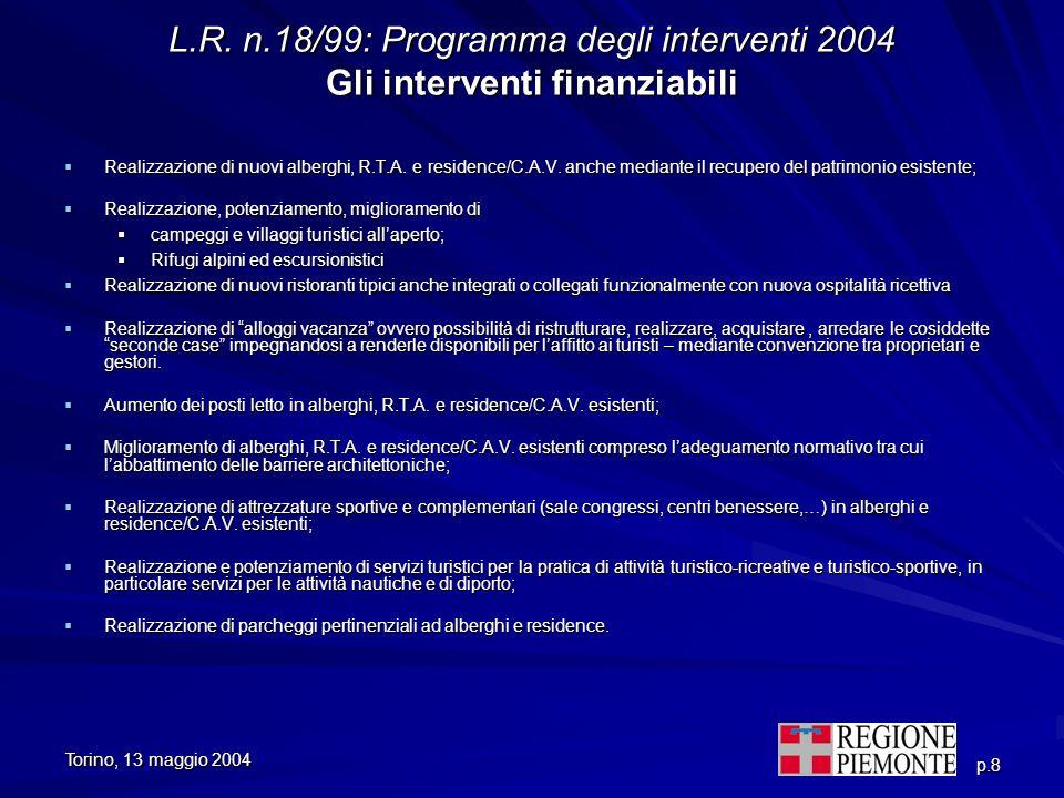 L.R. n.18/99: Programma degli interventi 2004 Gli interventi finanziabili