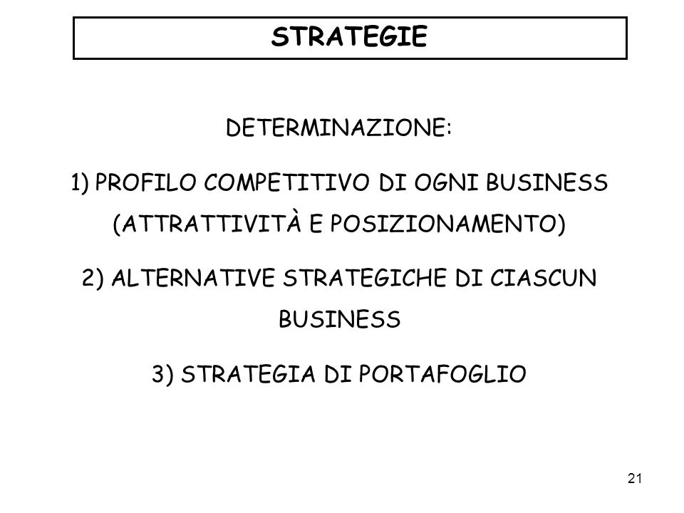 STRATEGIE DETERMINAZIONE: