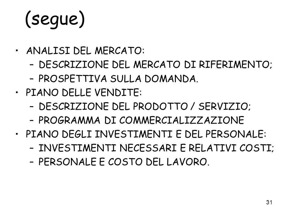 (segue) ANALISI DEL MERCATO: DESCRIZIONE DEL MERCATO DI RIFERIMENTO;