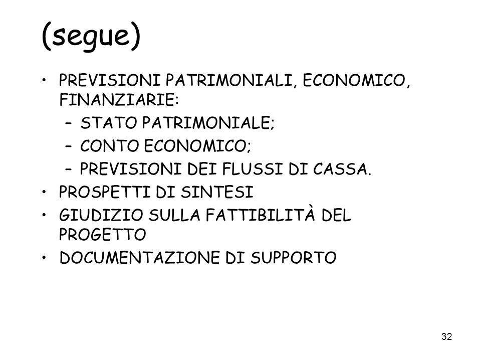 (segue) PREVISIONI PATRIMONIALI, ECONOMICO, FINANZIARIE: