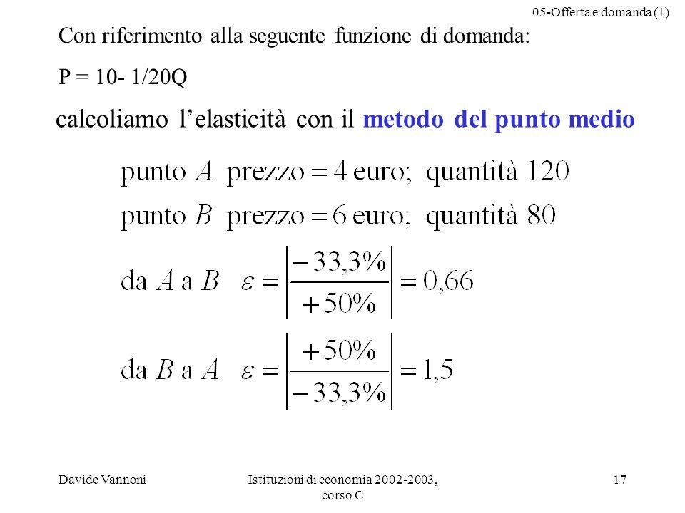 calcoliamo l'elasticità con il metodo del punto medio