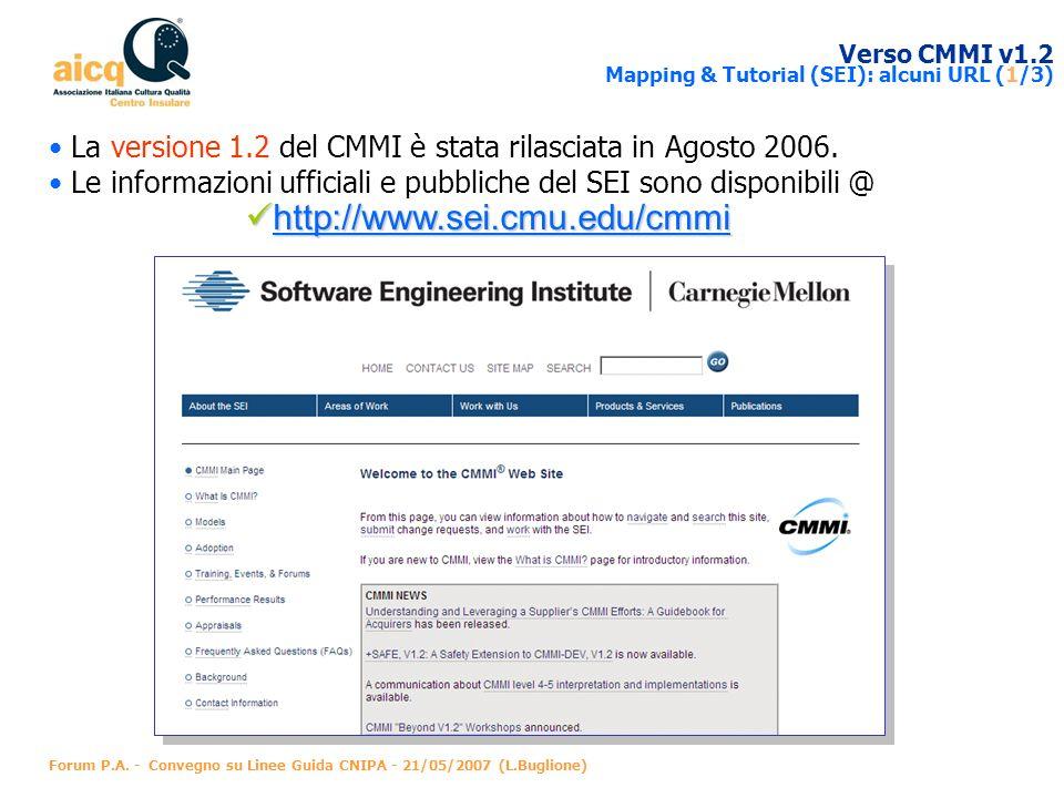 Verso CMMI v1.2 Mapping & Tutorial (SEI): alcuni URL (1/3)