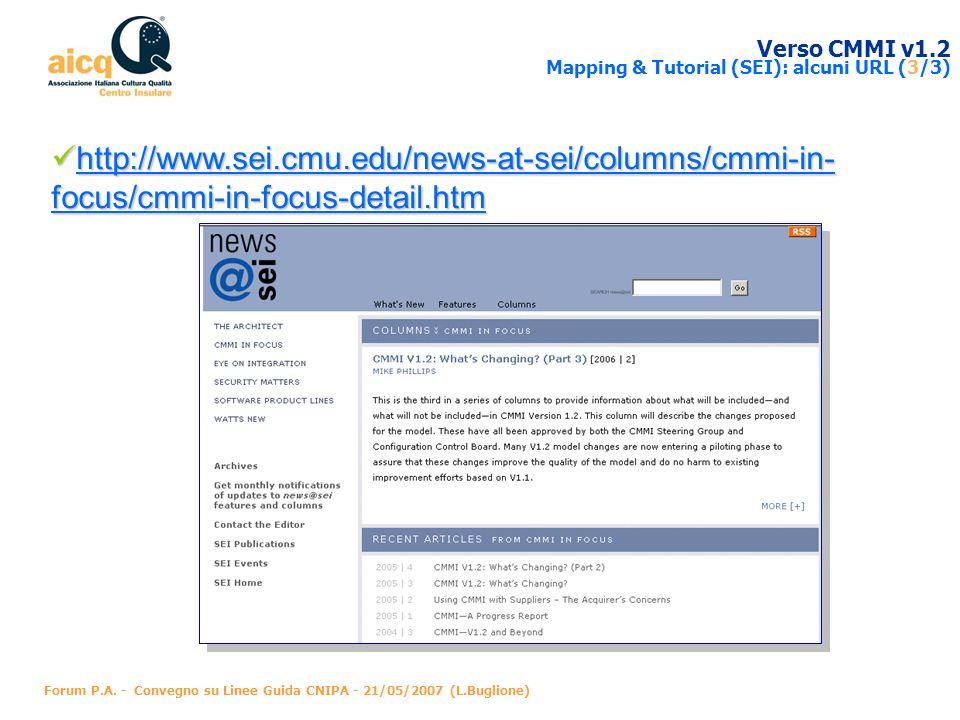 Verso CMMI v1.2 Mapping & Tutorial (SEI): alcuni URL (3/3)