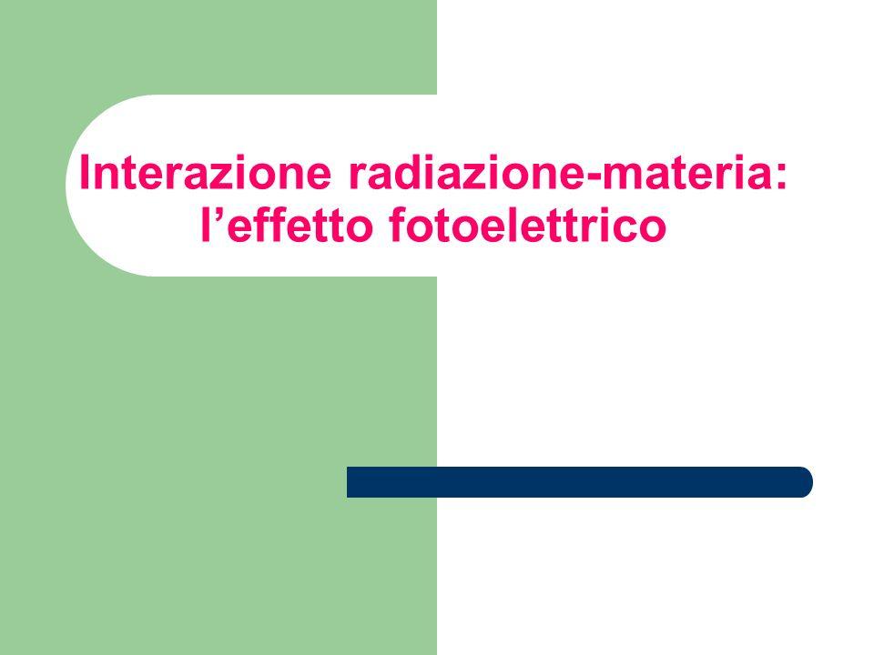 Interazione radiazione-materia: l'effetto fotoelettrico