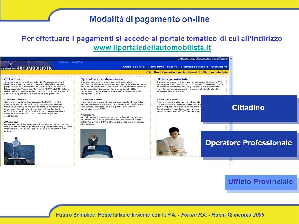 Modalità di pagamento on-line Operatore Professionale