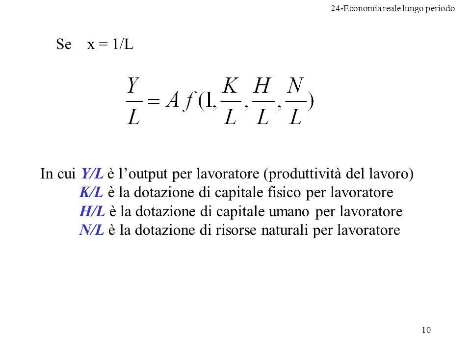 Se x = 1/L In cui Y/L è l'output per lavoratore (produttività del lavoro) K/L è la dotazione di capitale fisico per lavoratore.