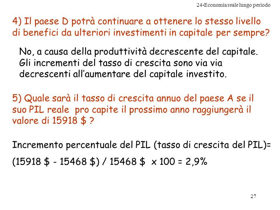 4) Il paese D potrà continuare a ottenere lo stesso livello di benefici da ulteriori investimenti in capitale per sempre