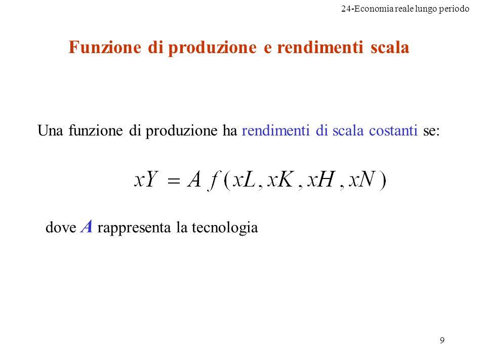 Funzione di produzione e rendimenti scala