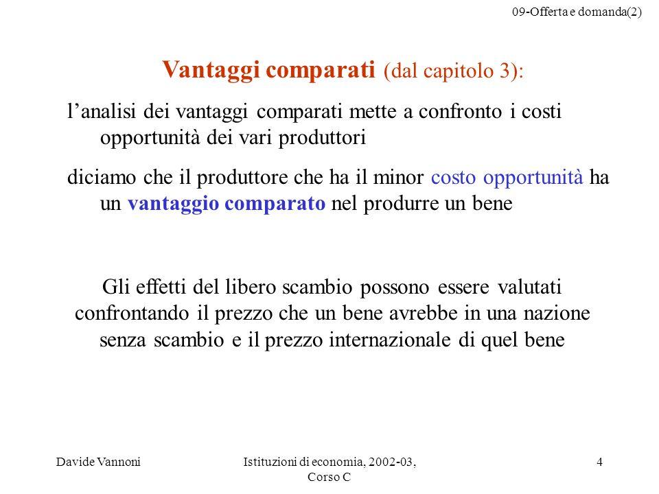 Vantaggi comparati (dal capitolo 3):