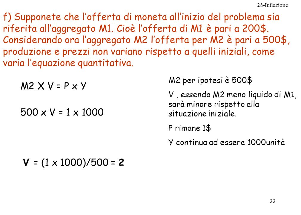 f) Supponete che l'offerta di moneta all'inizio del problema sia riferita all'aggregato M1. Cioè l'offerta di M1 è pari a 200$. Considerando ora l'aggregato M2 l'offerta per M2 è pari a 500$, produzione e prezzi non variano rispetto a quelli iniziali, come varia l'equazione quantitativa.