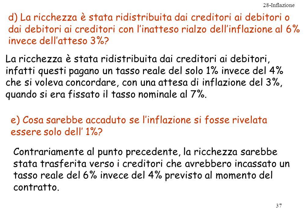 d) La ricchezza è stata ridistribuita dai creditori ai debitori o dai debitori ai creditori con l'inatteso rialzo dell'inflazione al 6% invece dell'atteso 3%