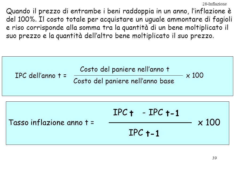 IPC t - IPC t-1 x 100 IPC t-1 Tasso inflazione anno t =