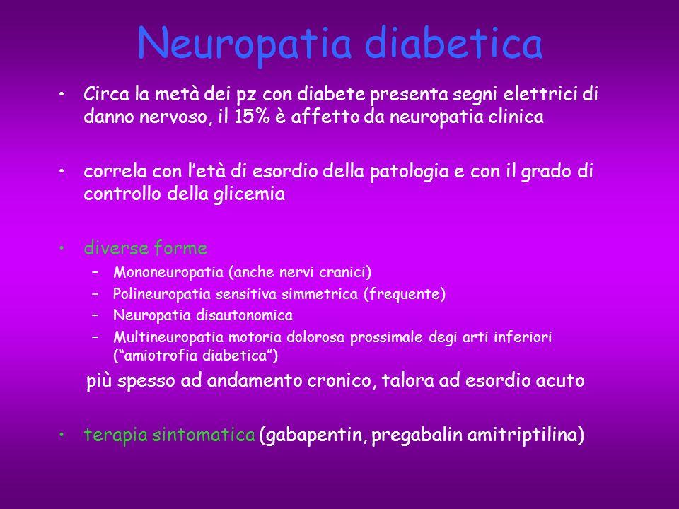 Neuropatia diabetica Circa la metà dei pz con diabete presenta segni elettrici di danno nervoso, il 15% è affetto da neuropatia clinica.