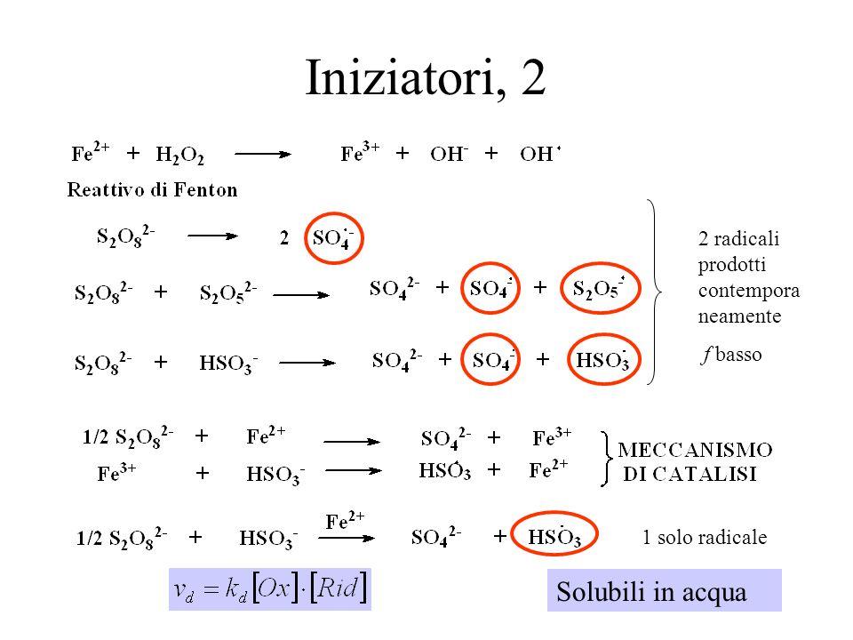 Iniziatori, 2 Solubili in acqua 2 radicali prodotti contemporaneamente