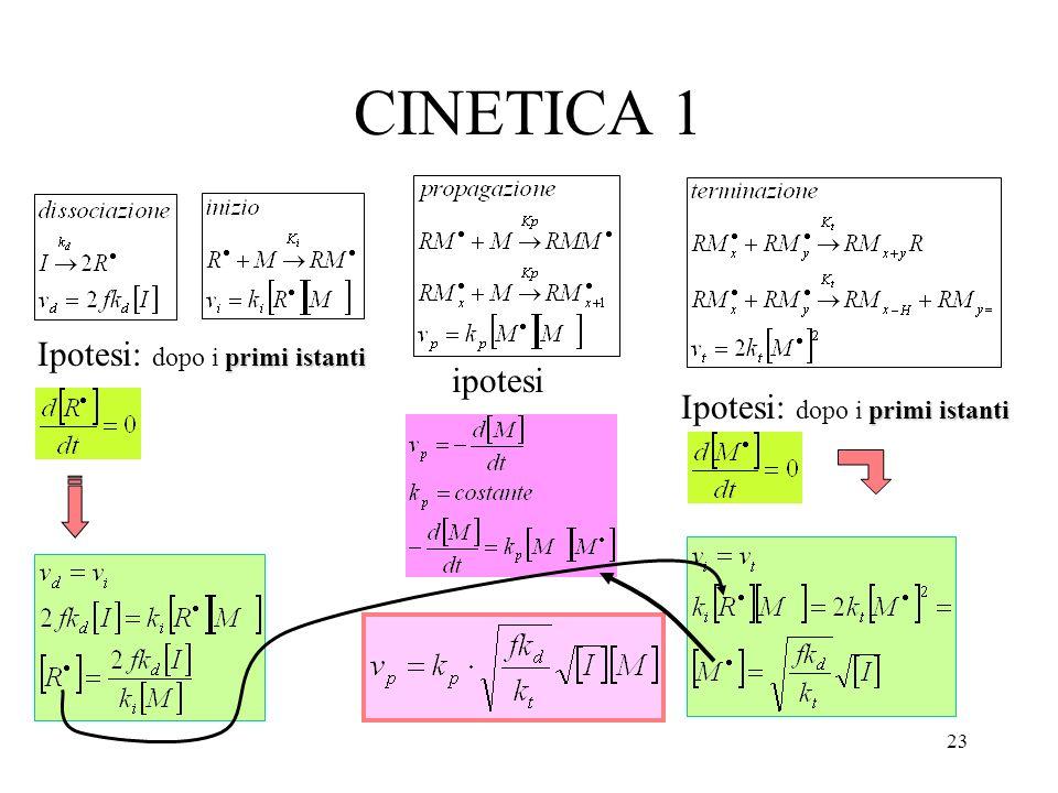 CINETICA 1 Ipotesi: dopo i primi istanti ipotesi