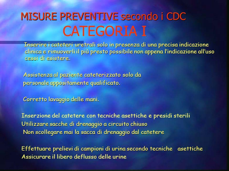 MISURE PREVENTIVE secondo i CDC CATEGORIA I