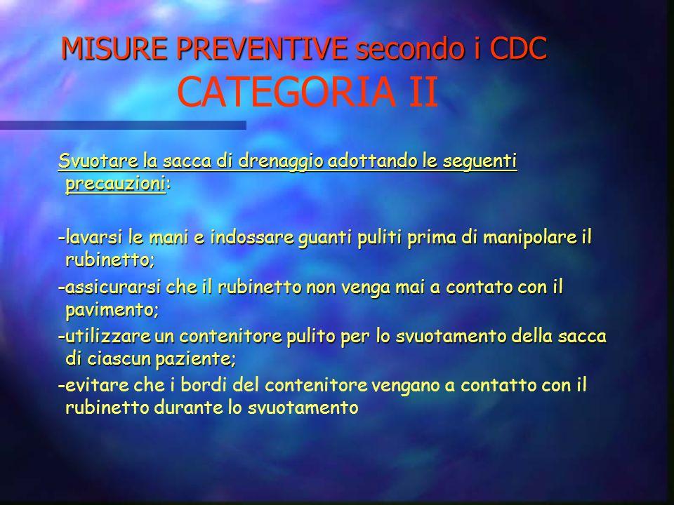 MISURE PREVENTIVE secondo i CDC CATEGORIA II