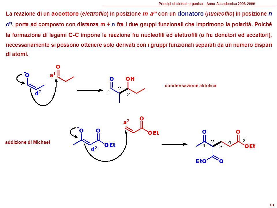 La reazione di un accettore (elettrofilo) in posizione m am con un donatore (nucleofilo) in posizione n dn, porta ad composto con distanza m + n fra i due gruppi funzionali che imprimono la polarità. Poiché la formazione di legami C-C impone la reazione fra nucleofili ed elettrofili (o fra donatori ed accettori), necessariamente si possono ottenere solo derivati con i gruppi funzionali separati da un numero dispari di atomi.