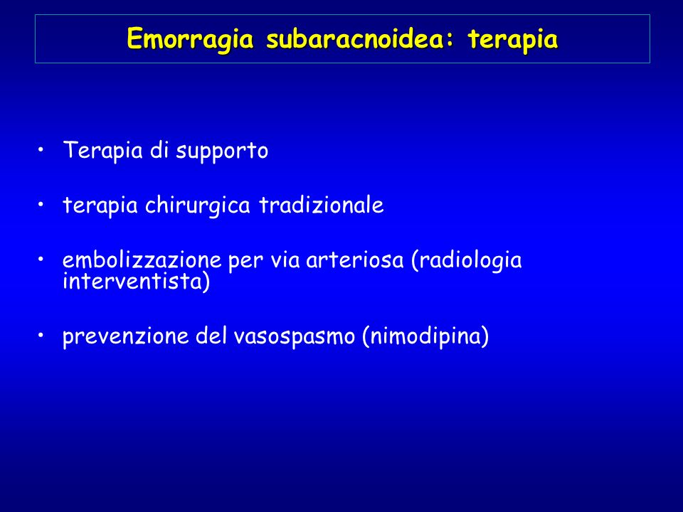 Emorragia subaracnoidea: terapia