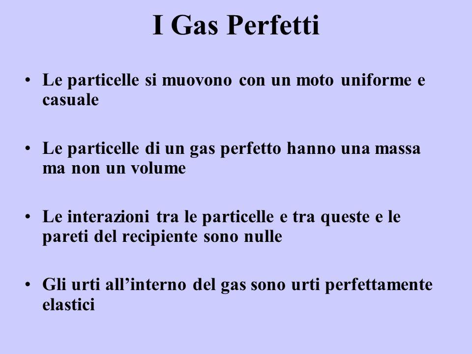 I Gas Perfetti Le particelle si muovono con un moto uniforme e casuale