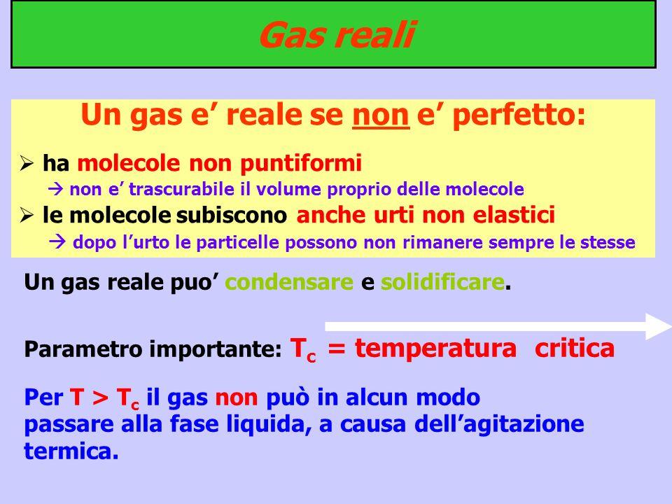 Un gas e' reale se non e' perfetto: