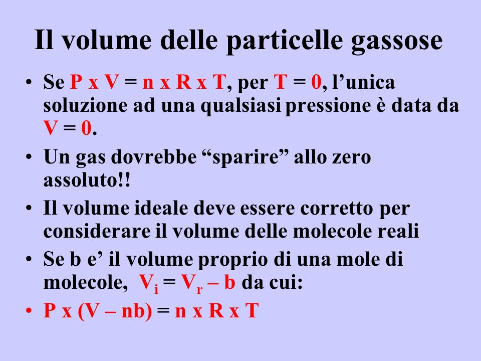 Il volume delle particelle gassose